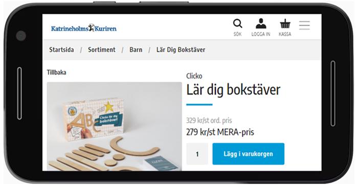 Liggande telefon visar produkter från en eshop